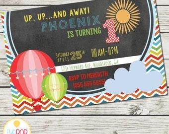 HOT AIR BALLOON Birthday Invitation - up, up, and away - rainbow colors - chevron - digital printable