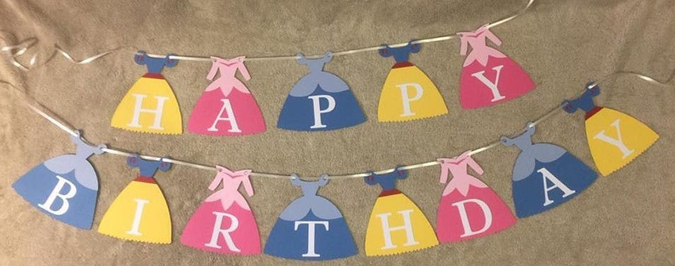 Disney Princess Happy Birthday banner. Can Be personalized.