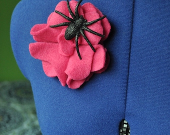 Pink Flower Pin with Glittery Spider