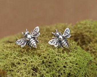 Bee earrings, Sterling honey bee post earrings