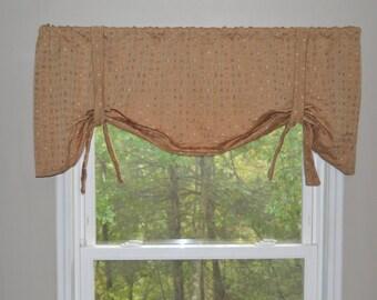 Window Treatment, Tie Up Valance, Dot Valance, Tan, Green, Orange Valance, nursery valance, kid valance