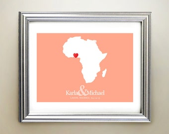 Africa Custom Horizontal Heart Map Art - Personalized names, wedding gift, engagement, anniversary date