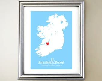 Ireland Custom Vertical Heart Map Art - Personalized names, wedding gift, engagement, anniversary date