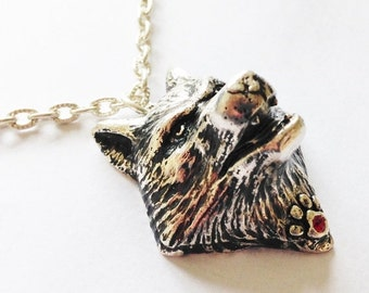 50% OFF Silver Plated Wolf Pendant With Ruby Red Swarovski Crystal