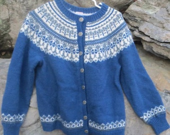 Fair Isle Vtg Handknit Norwegian Cardigan Sweater O. Allers AS made in Norway-size S/M