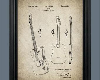 Fender Guitar Patent Print - Guitar Print - Guitar Art - Guitar Blueprint - Patent - Musician Gift - #086