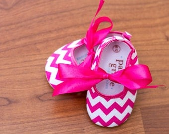 Pink Chevron Baby Shoes