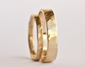 Wedding Ring Set - Two Hammered Gold Rings - Rustic Textured Rings  - 18 Carat Gold Wedding Band - Men's Women's - Couples - Unique