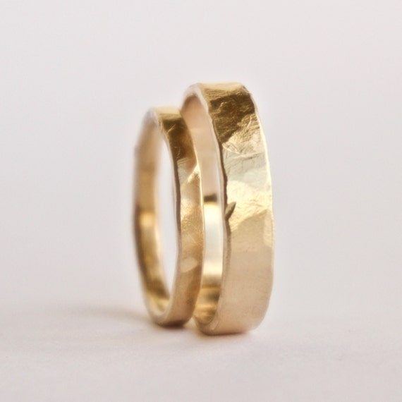 Wedding Ring Set - Two Hammered Gold Rings - 18 Carat Gold