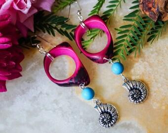 Ammonite Earrings, Earrings Wood, Earrings Handmade, Beach Jewelry, Long Earrings,Girls Earrings, Boho Earrings, Bohemian Earrings
