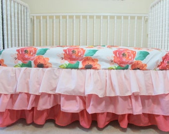 Floral Dreams baby bedding fitted sheet, 3 tier ruffled crib skirt coral blush, floral baby bedding.  Simply Gorgeous!!!