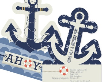12 Ahoy Nautical Custom Invitations - Printed Personalized Birthday Party Party Supplies