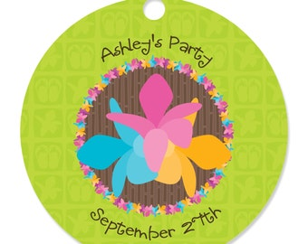 Luau Personalized Party Tags - Wedding, Baby Shower, Bridal Shower or Birthday Party DIY Craft Supplies- 20 Count