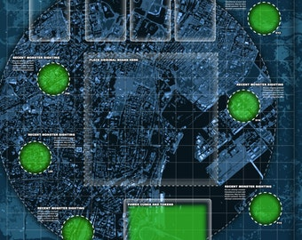 Digital Download   Enhanced play mat design for use with this popular city under monster attack themed board game