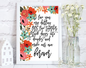 I love you print, love print, love poster, wedding day gift for bride, floral print art, Wedding gift, Floral art print, PRINT ONLY