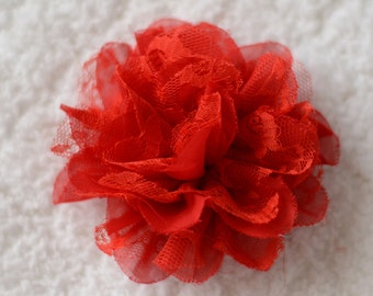 """3.75"""" Chiffon Lace Hair Flowers, Wholesale Flower Heads for Flower Headbands Baby, Lot of 1, 2, 5 or 10, Red"""