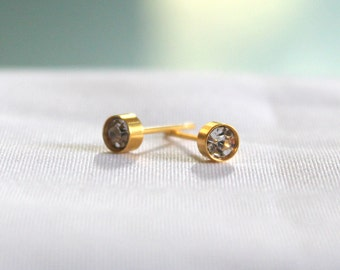 Gold Earrings Studs Stainless Steel with Austrian Crystal