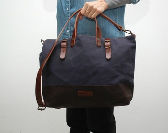 waxed canvas bag/tote bag/with leather handles and closures,navy blue color