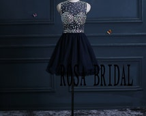 Navy homecoming dress, Illusion neck prom dress rhinestone, Short party dress, cocktail dress Custom Size color