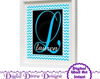 Digital Printable Custom Wall Art 8x10 - Aqua Chevron Monogrammed, Customized with Letter and Name of your choice