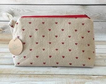 Hearts Makeup Bag, Makeup Zipper Pouch, Cosmetic Bag, Cosmetic Pouch, Pencil Pouch