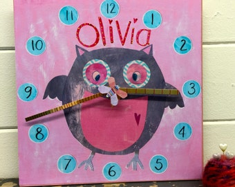 Personalised girls pink owl clock with spinning butterfly