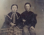 Brother & Sister // Antique tintype Victorian children, siblings holding hands // Antique photo girl in plaid dress and cape