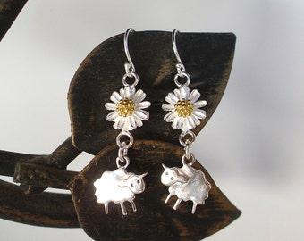 Sterling Silver Sheep Earrings - Baaaaa! - Sheep and Daisy