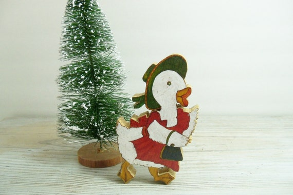 Vintage Wood Christmas Duck Hand Carved Hand Painted Wooden Blocks 1960s