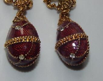 Vintage Enamel Egg Dangle Earrings Red Enamel Rhinestone Egg Dangle Earrings Clip On