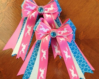Horse show hair bows/hair accessory/turquoise blue & pink pony/beautiful sparkle