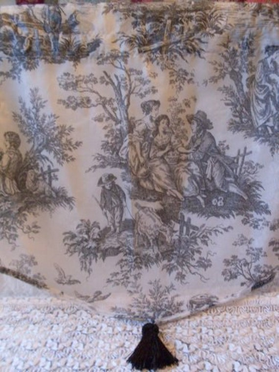 Vintage shabby chic black toile curtain bostonbackbay for Toile shabby chic