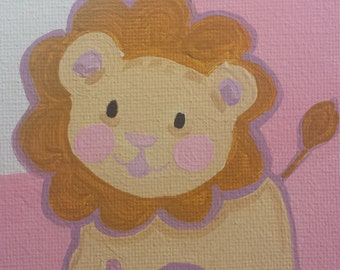 Baby Girl Birth Record Lion and Pink Frame Custom Made Nursery Art with Baby's Name, Weight, and Birthday
