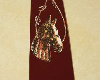 Vintage 1960's Men's Pilgrim Tie w Horse & Stud Decorations