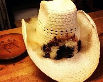 Feather cowboy hat