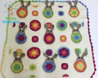 Will ship on 7/31 Crocheted lap/baby afghan with Bunny motif
