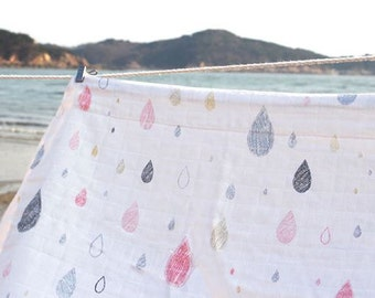 Raindrop Pattern Double Cotton Gauze Fabric by Yard - 2 Colors Selection