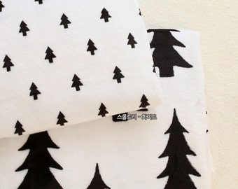 Black Tree Minky Fabric White by Yard - 2 Pattern Selection