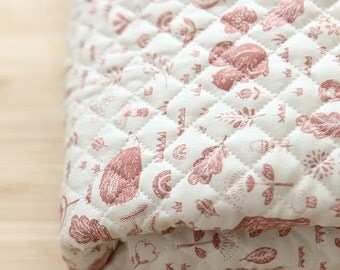 Quilted Animal Forest Pattern Cotton Fabric by Yard (Pink)