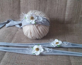RTS Baby flower and lace tie back/ headband in grey and white, for newborn and sitter, photo prop