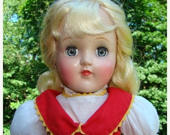 ON SALE 1950s Ideal Toni P-90 Doll in Tagged Red Dress 15 Inch Blond Hair