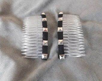 Hair combs Black with silver studs hair combs Hair accessories fashion combs