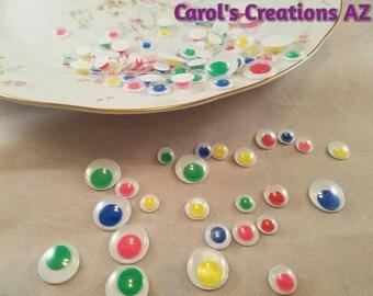 125 Google Eyes / Neon Colored Google Eyes / Craft Supplies / Scrapbook Supplies