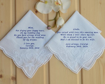 Personalized 2 wedding handkerchief set of 2 with campaign price! Mother of the bride handkerchief and groom! Rehearsal dinner gift!..
