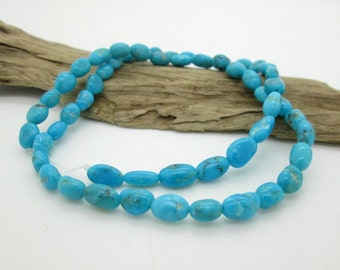 Natural Sleeping Beauty Turquoise Pebble or Potato Bead, American Turquoise, Blue Turquoise, 7-9mm x5mm, (10)
