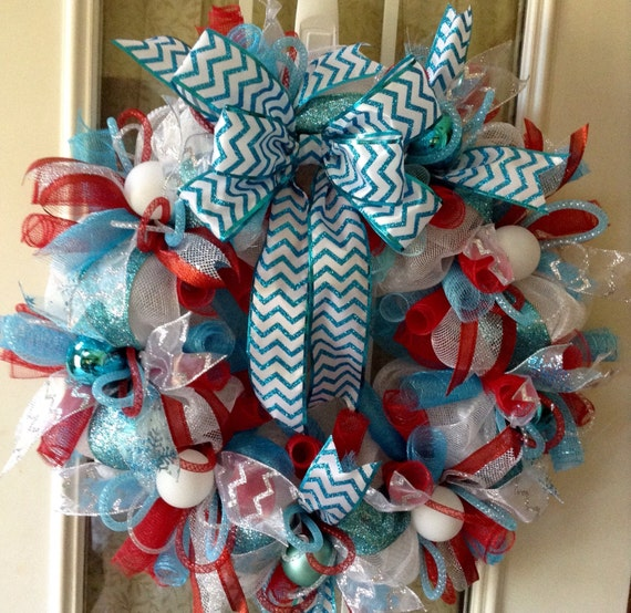 Red Turquoise Not Just For Holiday Decor: Christmas Wreath Turquoise Blue Red And White Deco Mesh With