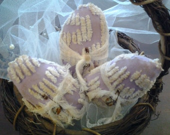 Set of 3 grungy primitive vintage violet and white chenille Easter egg bowl fillers, pillow tucks