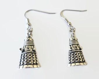 Daleks Earrings - Doctor Who Jewelry - Whovian Dangle Earrings - Doctor Who Earrings - Silver Tone Earrings