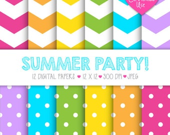 INSTANT DOWNLOAD | Chevron and Polka Dots Digital Paper | Summer Party | 12 x 12 - 300 dpi - JPEG | 12 Digital Papers | Commercial Use