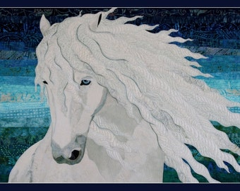 Card Textile Art with White Horse(C05)